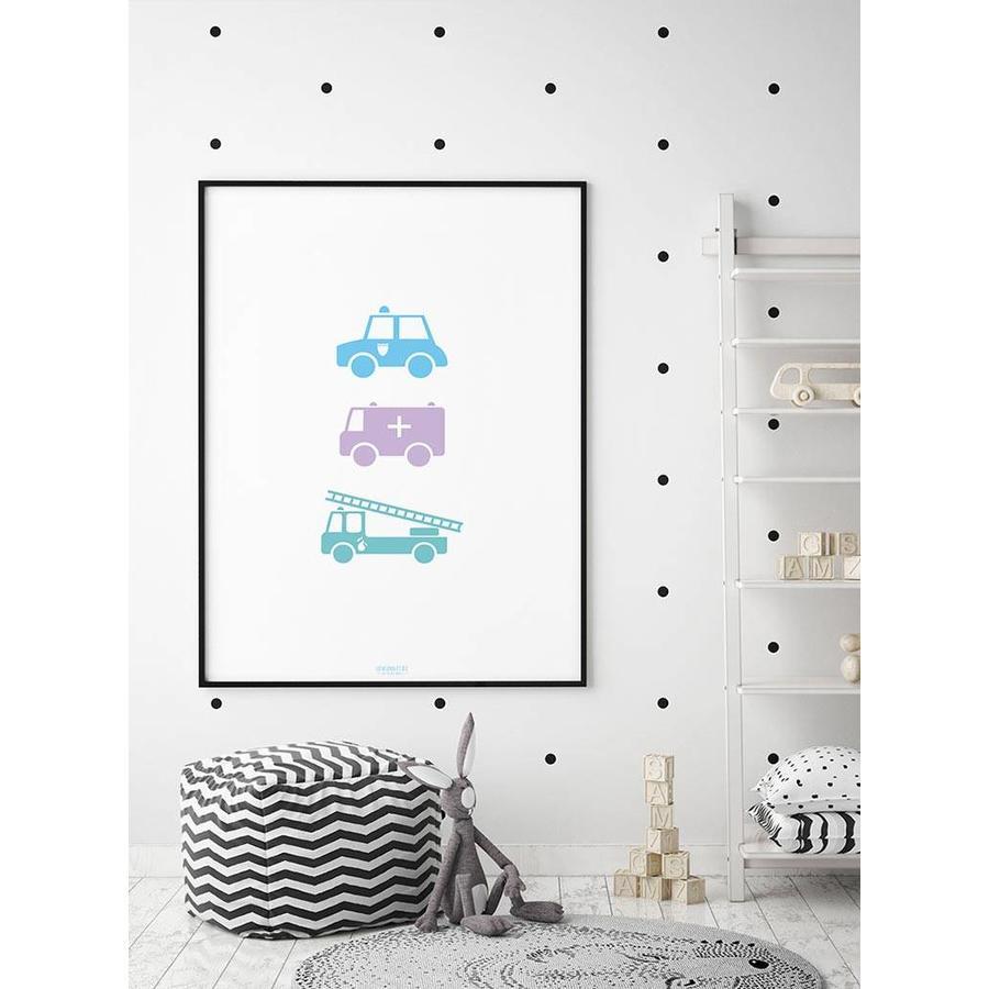 Poster babykamer politie ziekenauto brandweerwagen-6