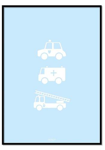 Poster politie ziekenauto brandweerwagen blauw
