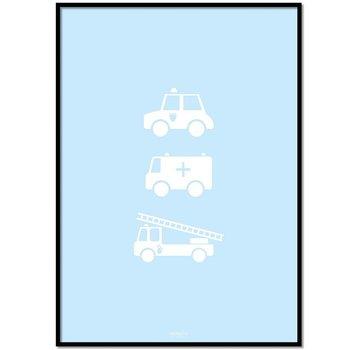 Lievespulletjes Poster politie ziekenauto brandweerwagen blauw