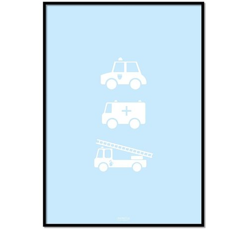 Lievespulletjes Poster babykamer politie ziekenauto brandweerwagen blauw