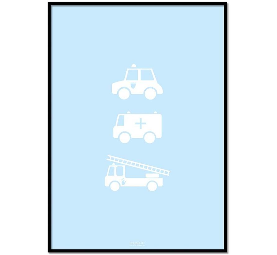 Poster babykamer politie ziekenauto brandweerwagen blauw