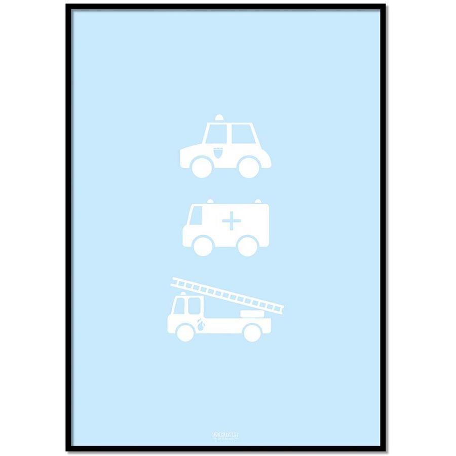 Poster babykamer politie ziekenauto brandweerwagen blauw-1