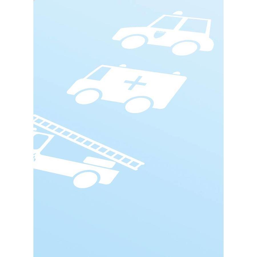 Poster babykamer politie ziekenauto brandweerwagen blauw-3