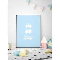 thumb-Poster babykamer politie ziekenauto brandweerwagen blauw-2