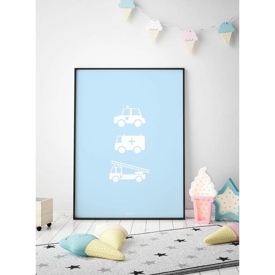 Poster babykamer politie ziekenauto brandweerwagen blauw-2