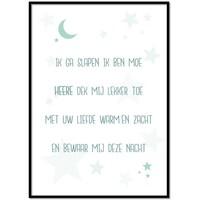 thumb-Poster christelijk kindergebed ik ga slapen ik ben moe mint-1