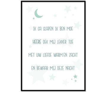 Lievespulletjes Poster kindergebed ik ga slapen ik ben moe  mint