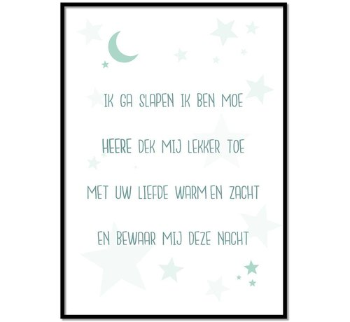 Lievespulletjes Poster christelijk kindergebed ik ga slapen ik ben moe mint