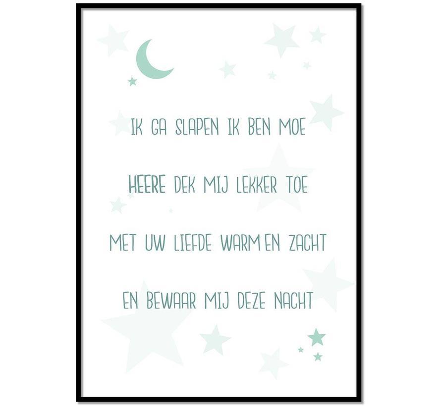 Poster christelijk kindergebed ik ga slapen ik ben moe mint