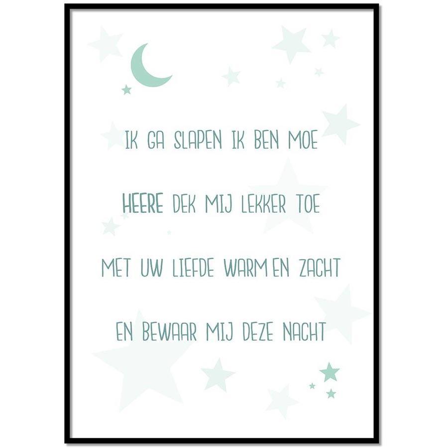 Poster christelijk kindergebed ik ga slapen ik ben moe mint-1