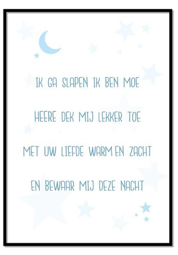 Poster kindergebed ik ga slapen ik ben moe blauw