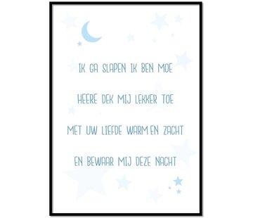 Lievespulletjes Poster kindergebed ik ga slapen ik ben moe blauw