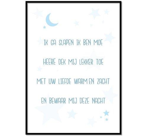 Lievespulletjes Poster christelijk kindergebed ik ga slapen ik ben moe nr2 blauw