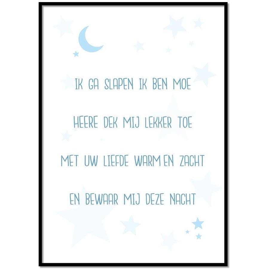 Poster christelijk kindergebed ik ga slapen ik ben moe nr2 blauw-1