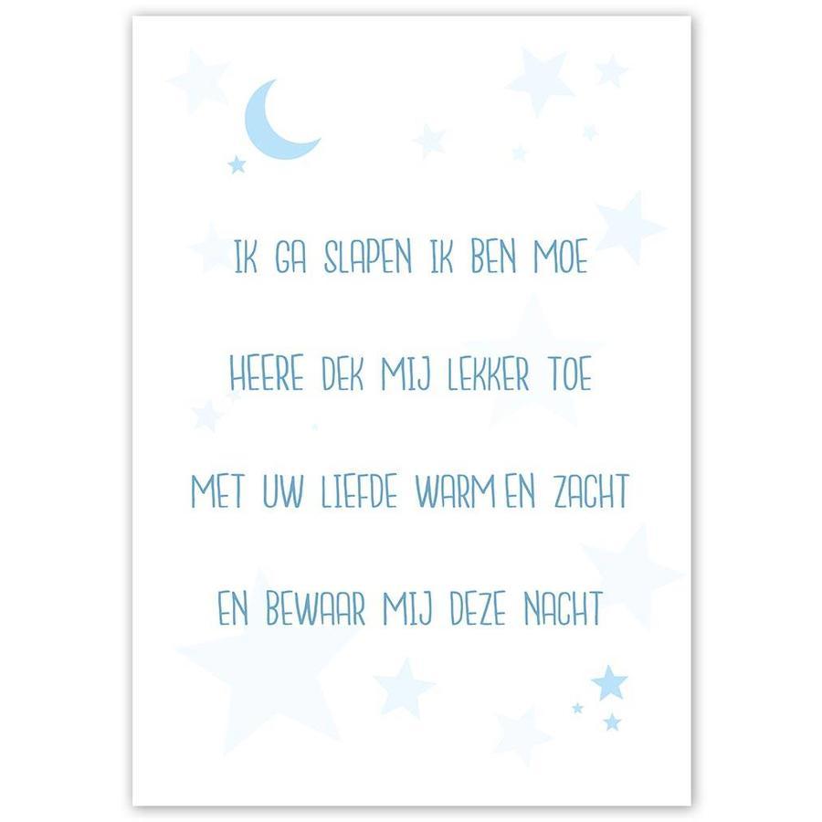 Poster christelijk kindergebed ik ga slapen ik ben moe nr2 blauw-3
