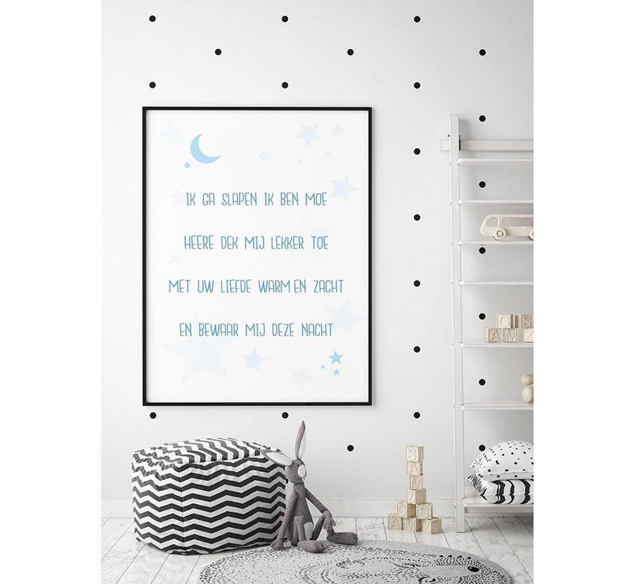 Poster christelijk kindergebed ik ga slapen ik ben moe nr2 blauw