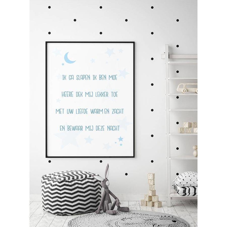 Poster christelijk kindergebed ik ga slapen ik ben moe nr2 blauw-4