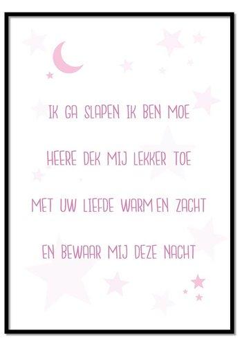 Poster kindergebed ik ga slapen ik ben moe roze