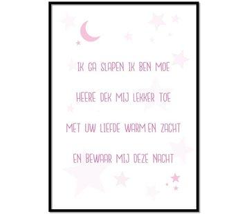 Lievespulletjes Poster kindergebed ik ga slapen ik ben moe roze