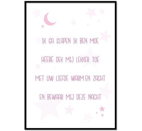 Lievespulletjes Poster christelijk kindergebed ik ga slapen ik ben moe nr2