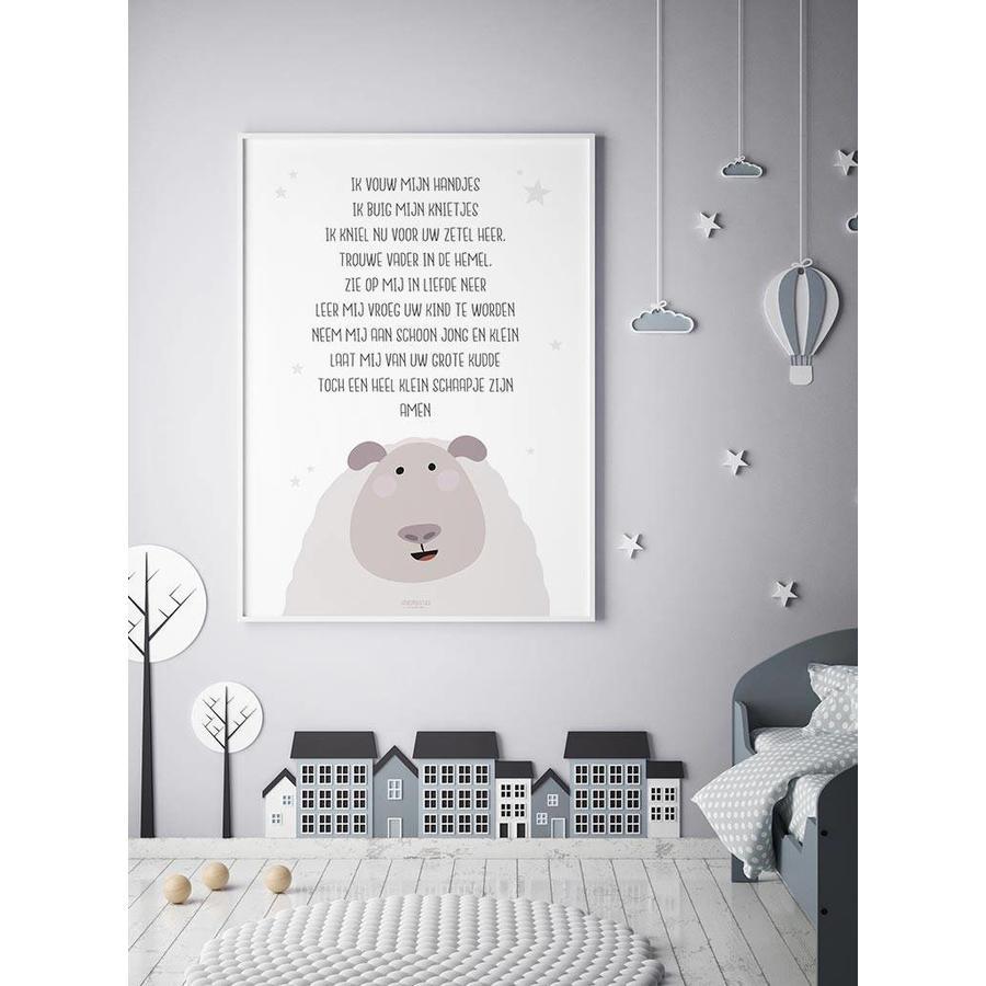 Poster christelijk kindergebed ik vouw mijn handjes wit-2