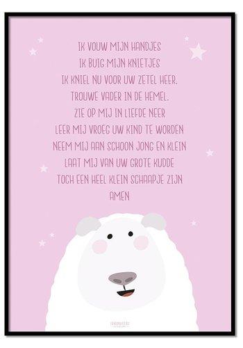 Poster kindergebed ik vouw mijn handjes roze