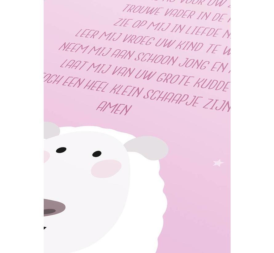 Poster christelijk kindergebed ik vouw mijn handjes roze