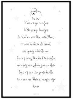 Lievespulletjes Poster christelijk kindergebed ik vouw mijn handjes wit