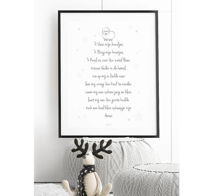 Poster christelijk kindergebed ik vouw mijn handjes wit