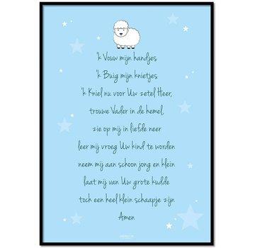 Lievespulletjes Poster christelijk kindergebed ik vouw mijn handjes blauw
