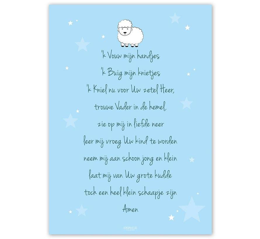 Poster christelijk kindergebed ik vouw mijn handjes blauw