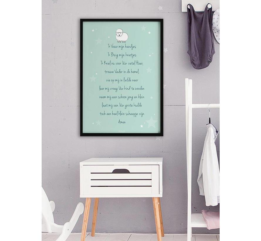 Poster christelijk kindergebed ik vouw mijn handjes mint