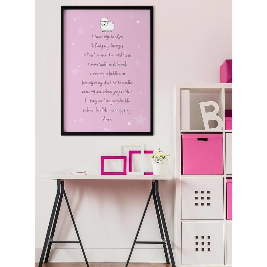 Poster christelijk kindergebed ik vouw mijn handjes roze-2
