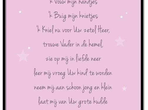 Lievespulletjes Poster christelijk kindergebed ik vouw mijn handjes roze