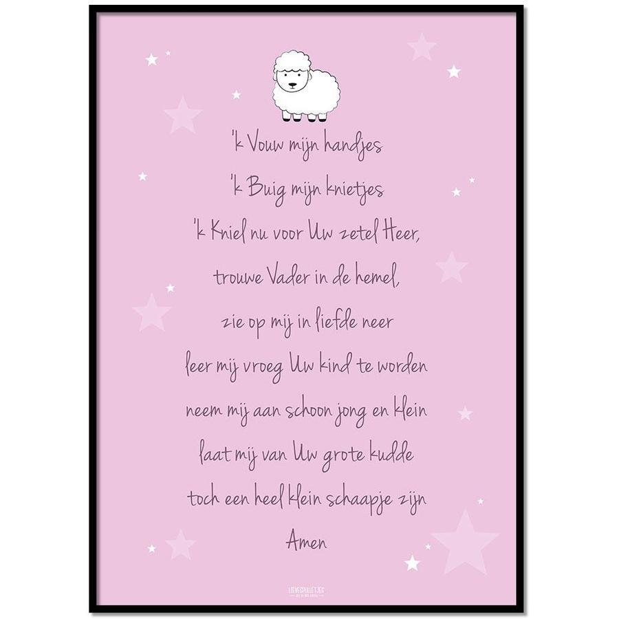 Poster christelijk kindergebed ik vouw mijn handjes roze-1