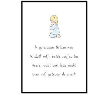 Lievespulletjes Poster christelijk kindergebed ik ga slapen ik ben moe