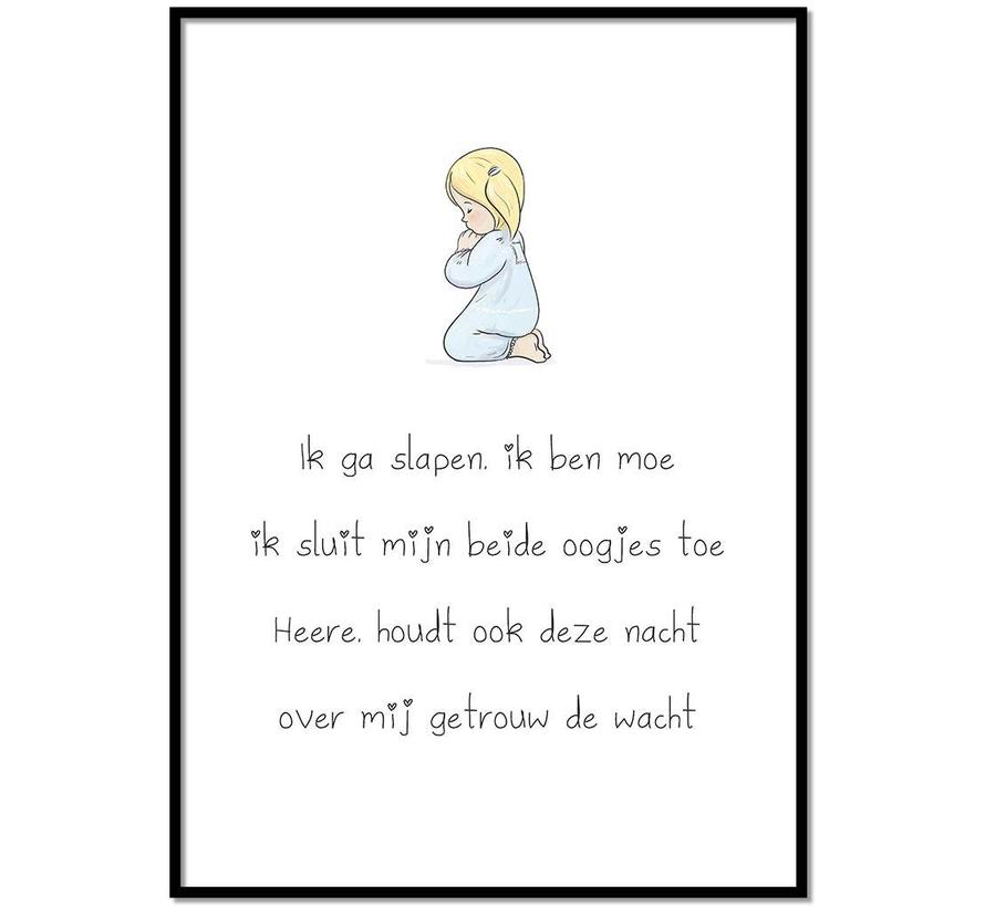 Poster christelijk kindergebed ik ga slapen ik ben moe