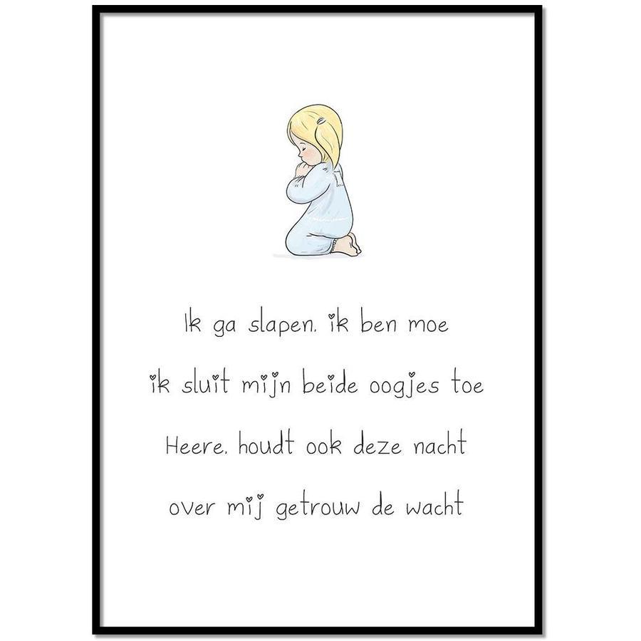 Poster christelijk kindergebed ik ga slapen ik ben moe-1