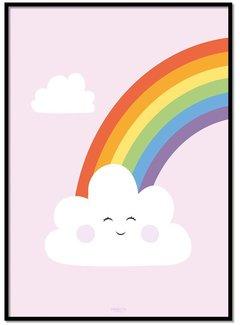 Lievespulletjes Poster regenboog met wolkje roze