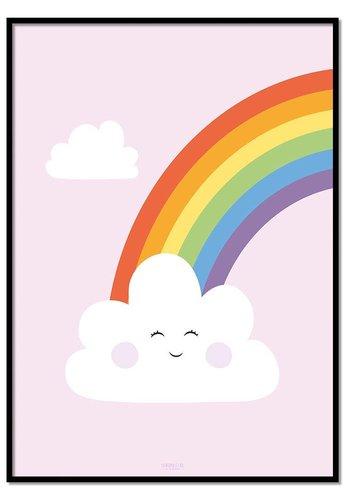 Poster regenboog met wolkje roze