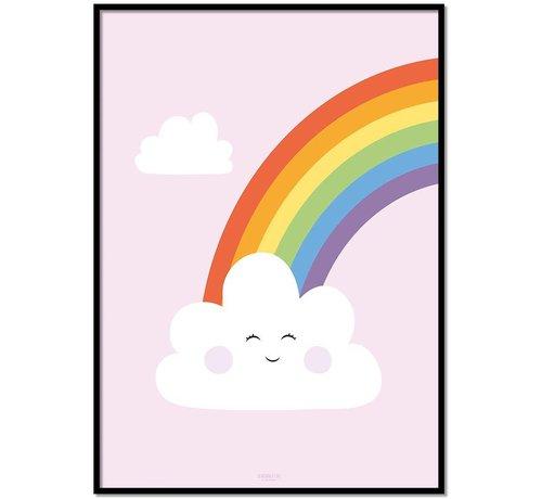 Lievespulletjes Poster kinderkamer regenboog met lief wolkje roze