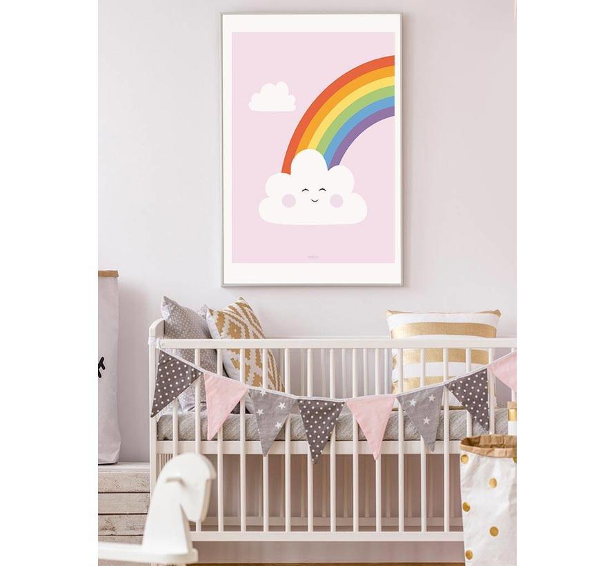 Poster kinderkamer regenboog met lief wolkje roze