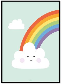 Lievespulletjes Poster regenboog met wolkje mint