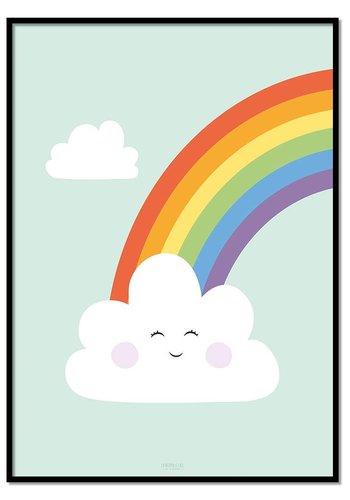 Poster regenboog met wolkje mint