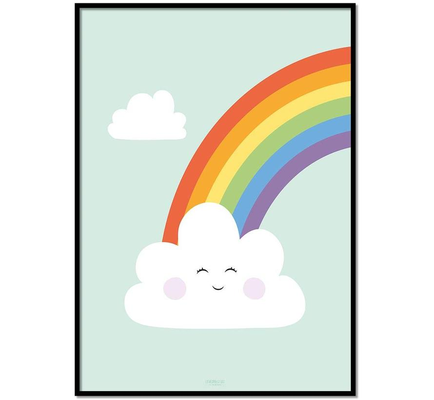 Poster kinderkamer regenboog met lief wolkje mint