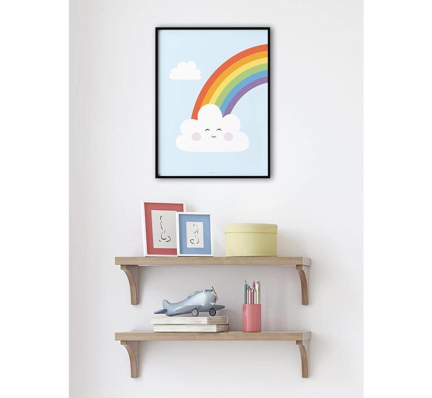 Poster kinderkamer regenboog met lief wolkje blauw
