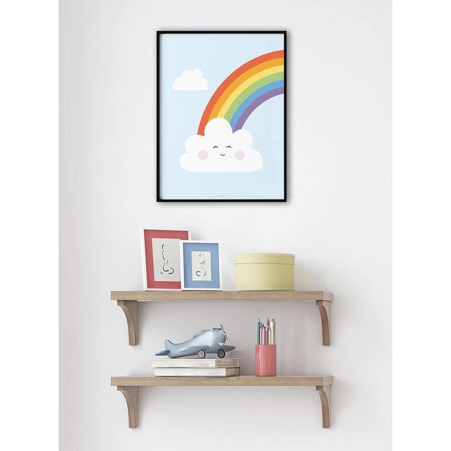 Poster kinderkamer regenboog met lief wolkje blauw-2