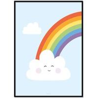thumb-Poster kinderkamer regenboog met lief wolkje blauw-1