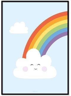 Lievespulletjes Poster regenboog met wolkje blauw