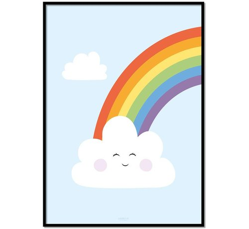 Lievespulletjes Poster kinderkamer regenboog met lief wolkje blauw
